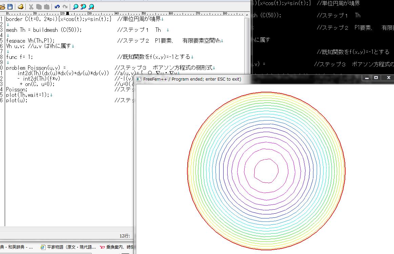 プログラムの一部と計算結果の等高線