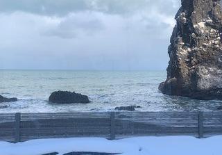 車窓からの海。